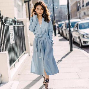 Soia & Kyo Dessie Straight Fit Belted Coat Sky